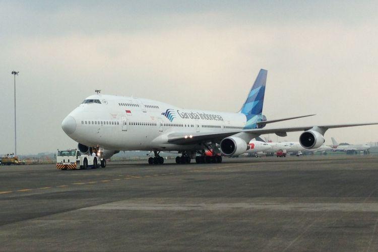 Pesawat Boeing 747-400 milik Garuda Indonesia di Bandara Soekarno-Hatta