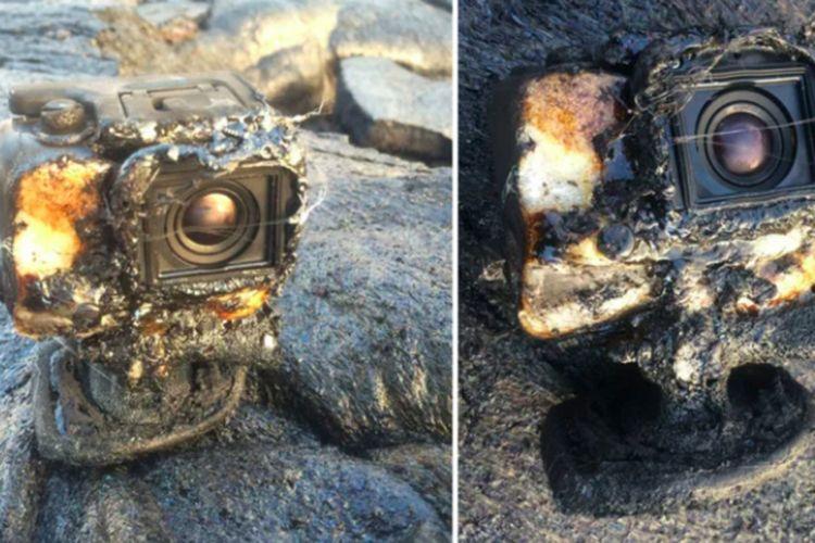 Kamera GoPro milik Erik Storm yang terkena lelehan lava.
