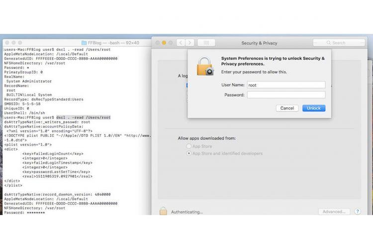 Bug di MacOS High Sierra, bisa akses sebagai admin dengan mengetik root di User Name tanpa butuh password.