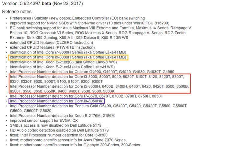 Nota rilis Aida64 beta yang membocorkan keberadaan sejumlah prosesor baru dari Intel, termasuk chip kelas atas Core i9 untuk laptop.
