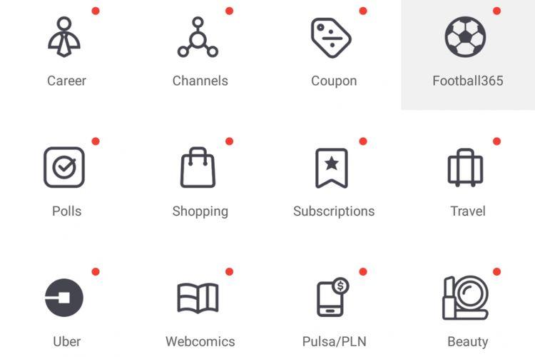 Menu Uber di halaman Discover aplikasi BBM