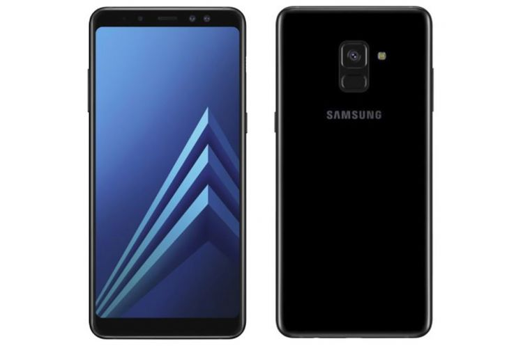 Tampang depan dan belakang Galaxy A8 Plus (2018) dengan desain bezel less dan kamera selfie ganda.