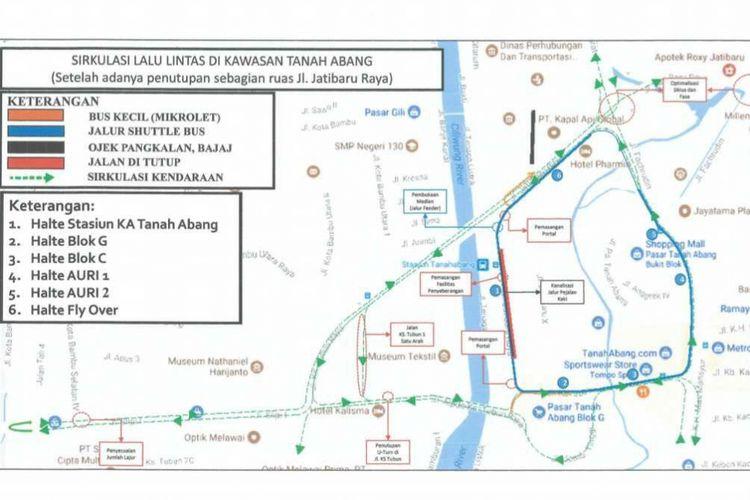 Rute pengalihan arus lalu lintas di Kawasan Tanah Abang mulai Jumat (22/12/2017).