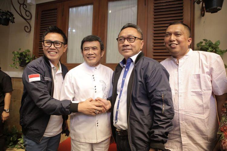 Ketua Umum PAN Zulkifli Hasan berkunjung ke kediaman Ketua Umum Partai Idaman Rhoma Irama, di Jakarta, Kamis (28/12/2017).