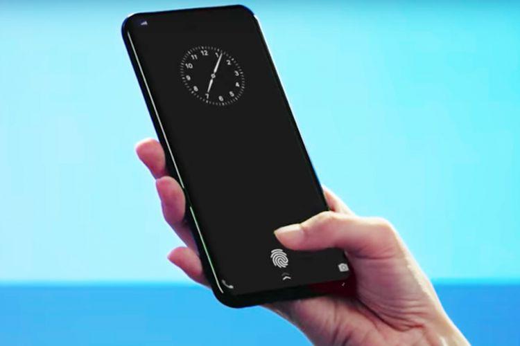Ilustrasi prototipe ponsel Vivo dengan pemindai sidik jari di layar.