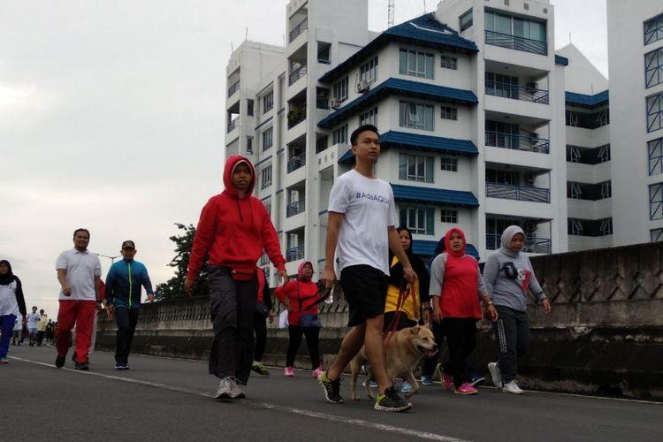 Suasana CFD di JLNT Antasari, Jakarta Selatan, Minggu (14/1/2018)
