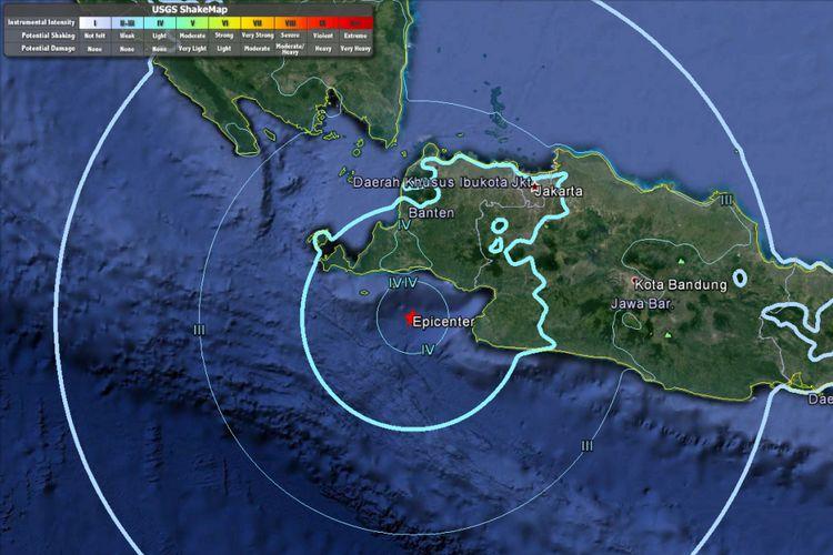 Pusat gempa pada Selasa (23/1/2018) pukul 13.34 WIB berdasarkan data USGS