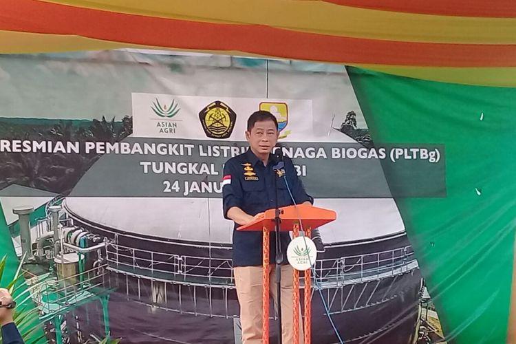 Menteri ESDM Ignasius Jonan saat memberikan sambutan pada peresmian Pembangkit Listrik tenaga Biogas (PLTBg) milik Asian Agri di Tungkal Ulu, Jambi, Rabu (24/1/2018)