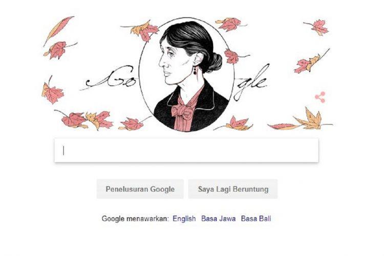Google doodle hari Kamis (25/1/2018) yang menampilkan sosok Virginia Woolf.