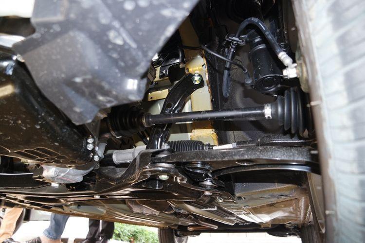 Suspensi depan Datsun Cross diseting oleh R&D Nissan di Jepang.