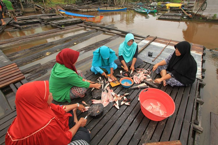 Sumaryani (kanan) bersama rekannya sedang menyiangi ikan diatas lanting di tepian sungai di Desa Ujung Said, Kecamatan Jongkong, Kabupaten Kapuas Hulu (24/1/2018)