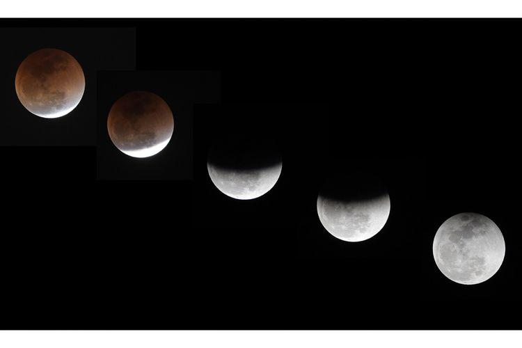 Kombinasi penampakan bulan saat terjadinya gerhana bulan total atau super blue blood moon, di Islamabad, Pakistan, Rabu (31/1/2018) malam. Warga di berbagai belahan dunia antusias menyaksikan fenomena langka yang terjadi bertepatan saat bulan berada dalam konfigurasi supermoon dan blue moon ini terjadi sekitar dalam kurun waktu 150 tahun sekali.