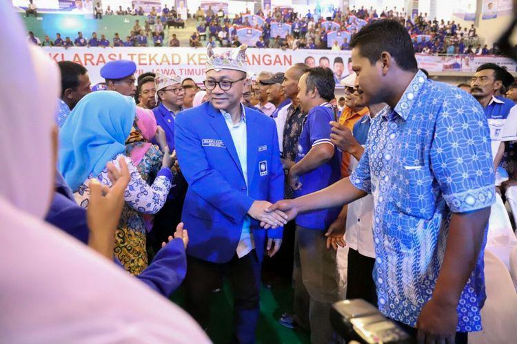 Ketua Umum PAN Zulkfli Hasan menghadiri acara deklarasi tekad kemenangan di Bojonegoro, Jawa Timur, Rabu (7/2/2018).