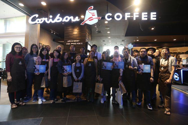 Acara Home Brewing French Press and V60 Kompas.com bersama Caribou Coffee di Caribou Coffe Lotte Shopping Avenue, Jakarta Selatan, Sabtu (10/2/2018).
