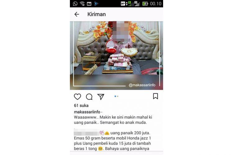 Seorang perempuan mengunggah foto uang panaik dan menyebar di Instagram.