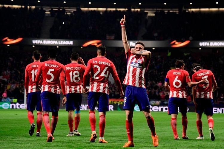 Saul Niguez merayakan gol Atletico Madrid ke gawang Lokomotiv Moskva pada babak 16 besar Liga Europa di Stadion Wanda Metropolitano, Kamis (8/3/2018).