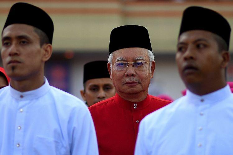Perdana Menteri Malaysia Najib Razak (tengah) saat kongres tahunan United Malays National Organisation (UMNO) di Kuala Lumpur 7 Desember 2017.