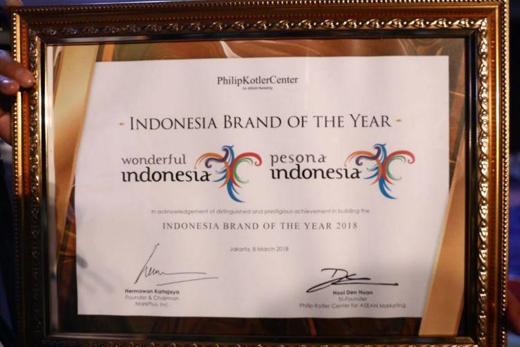 rand yang diusung Kementerian Pariwisata, Wonderful Indonesia, dinobatkan sebagai Brand of The Year Indonesia 2018.