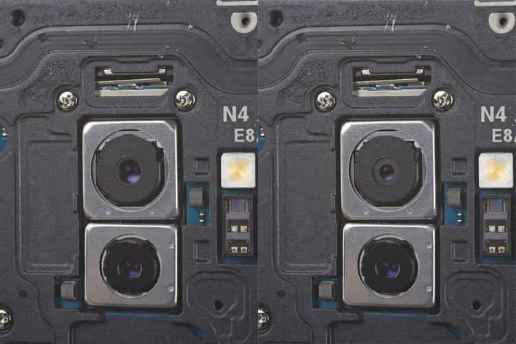 iFixit memperlihatkan kamera Galaxy S9 Plus dalam kondisi aperture dibuka lebar di angka f/1.5 (kiri), dan ditutup ke angka f/2.4 dengan dua bilah aperture berbentuk mirip cincin. Kamera kedua di bawah memiliki aperture fixed yang tidak bisa diubah-ubah.