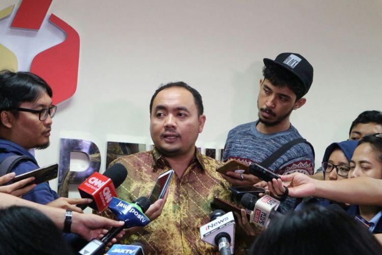 Anggota Badan Pengawas Pemilu (Bawaslu) RI, Muhammad Afifudin ketika menyampaikan paparannya di Kantor Bawaslu RI, Jakarta, Senin (12/3/2018).