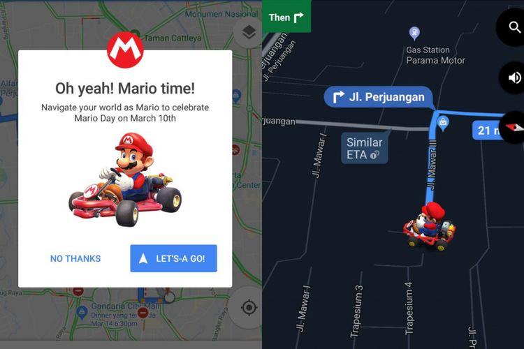 Fitur Mario Kart sebagai penunjuk arah di Google Maps.