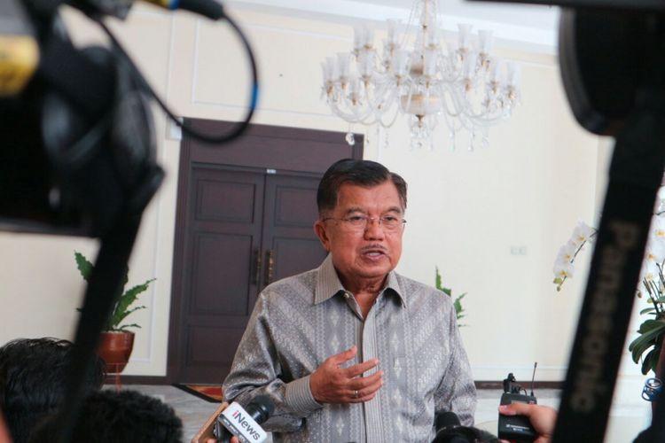 Wakil Presiden Jusuf Kalla ketika ditemui di kantor Wakil Presiden RI, Jakarta, Selasa (13/3/2018).
