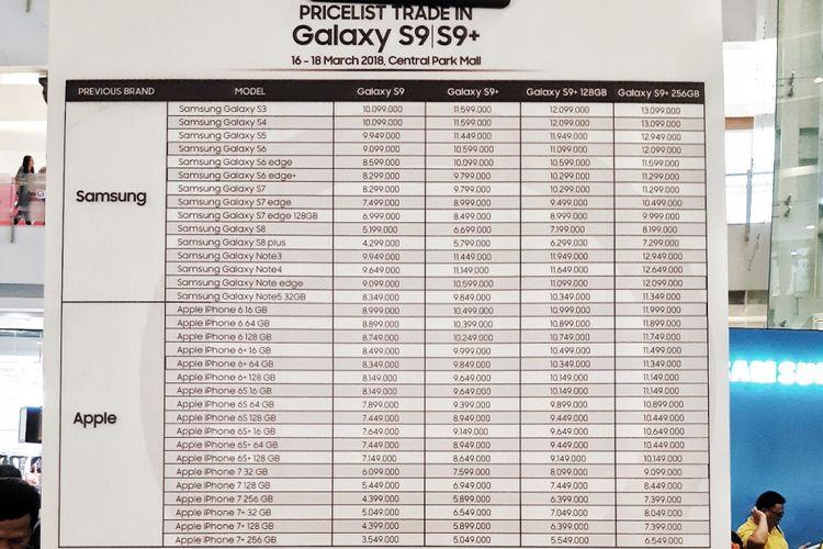 Penjualan perdana Galaxy S9 dan Galaxy S9 Plus juga menawarkan tukar tambah dengan produk iPhone di Central Park Mall Jakarta,  Jumat (16/3/2018).