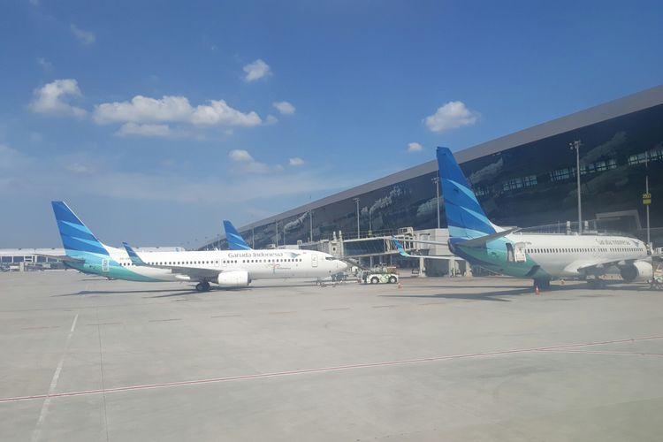Pesawat terparkir di Terminal 3 Bandara Internasional Soekarno-Hatta, Tangerang, Banten, Kamis (15/3/2018).