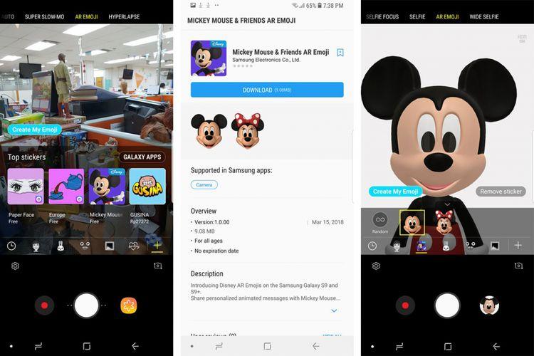 Tahapan memasang AR Emoji Disney di ponsel Galaxy S9 dan Galaxy S9 Plus.