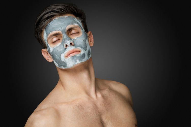 Ilustrasi pria memakai masker