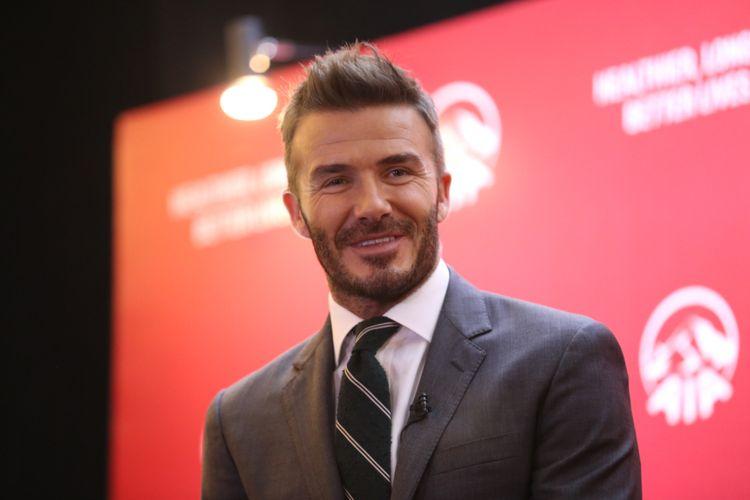 AIA Global Ambassador David Beckham saat di acara Temu Media AIA di Hotel Raffles, Kuningan, Jakarta, Selasa (26/03/2018). AIA dan David Beckham mengajak masyarakat Indonesia untuk hidup lebih sehat, lebih lama, lebih baik.