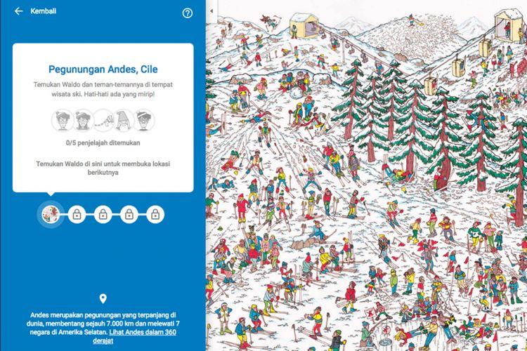 Minigame Wheres Waldo di Google Maps berupa pencarian tokoh Waldo dan kawan-kawannya dalam gambar puzzle di sejumlah lokasi yang tersebar di peta.(KOMPAS.com/ OIK YUSUF)