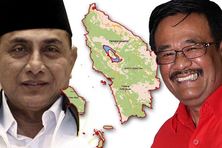 Calon gubernur pada Pilkada Sumatera Utara 2018, Edy Rahmayadi (kiri) dan Djarot Syaiful Hidayat.