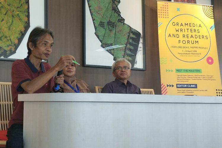 Jumpa pers Gramedia Writers and Readers Forum (GWRF) 2018 di Gedung Perpustakaan Nasional RI, Jalan Medan Merdeka Selatan, Jakarta Pusat, Jumat (6/4/2018).