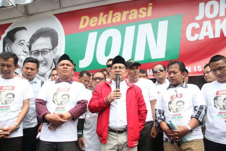 Ketua Umum PKB Muhaimin Iskandar meresmikan posko JOIN, Jokowi-Muhaimin di kawasan Tebet, Jakarta, Selasa (10/4/2018).