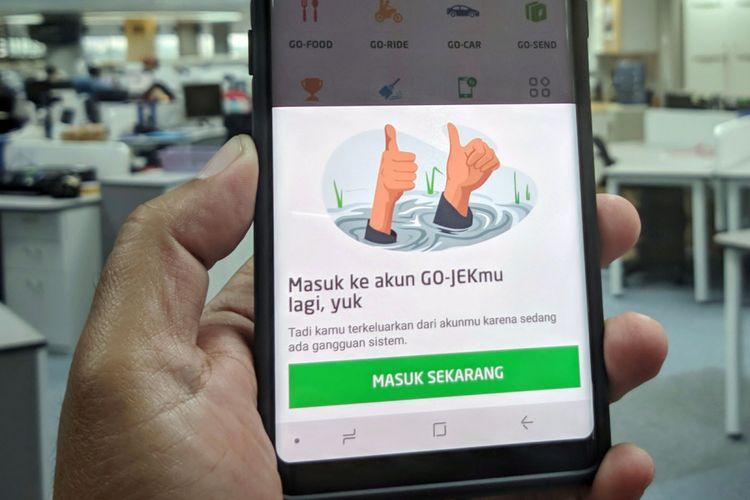 Pengguna layanan Go-jek mengeluh mengalami logout dan tidak bisa melakukan login kembali pada Kamis (12/4/2018) petang.
