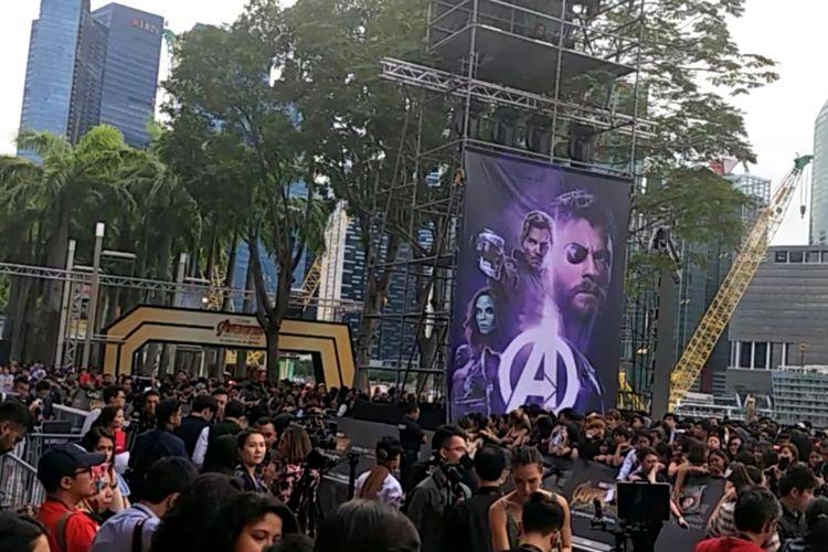 4.000 penggemar padati gelaran Purple Carpet Fan Event film Avengers: Infinity War di Marina Bay Sands, Singapura, Senin (16/4/2018).