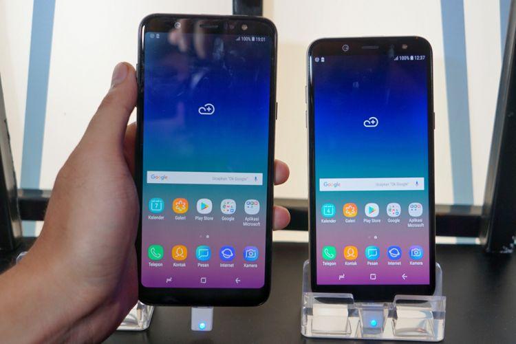 Galaxy A6 Plus (kiri), memiliki layar lebih lebar dengan ukuran 6 inci, dibandingkan milik Galaxy A6 sebesar 5,6 inci.
