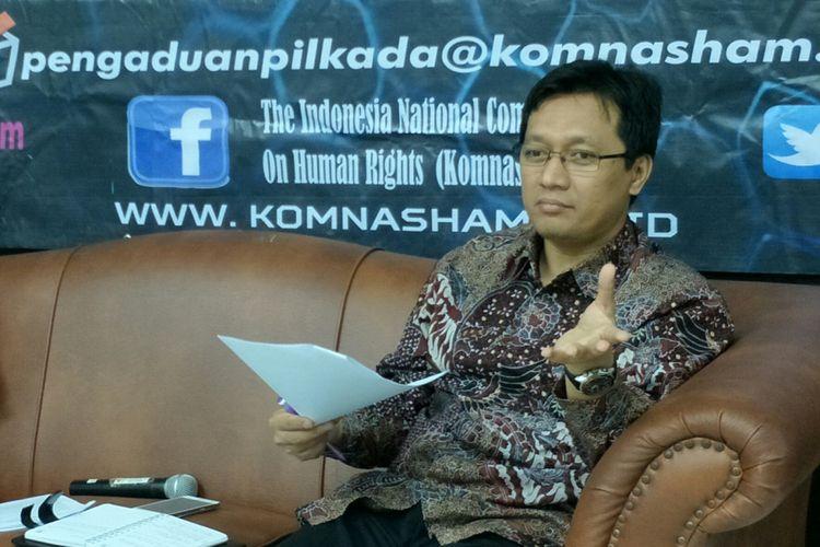 Komisioner bidang mediasi Komnas HAM, Munafrizal Manan ketika ditemui di Kantornya, Jakarta, Rabu (9/5/2018).