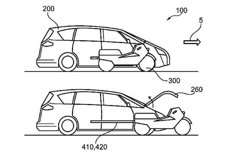 Ford patenkan mobil yang terintegerasi dengan sepeda motor listrik.