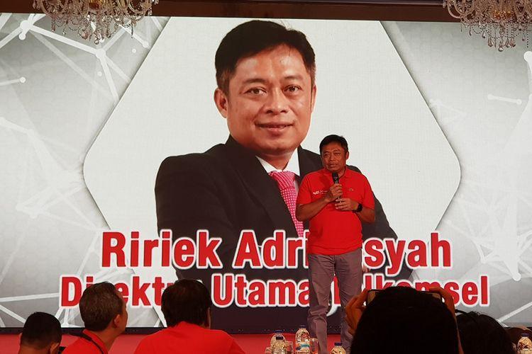 Direktur Utama Telkomsel, Ririek Adriansyah, ketika berbicara dalam acara media gathering di Lombok, Nusa Tenggara Barat, Jumat (11/5/2018).
