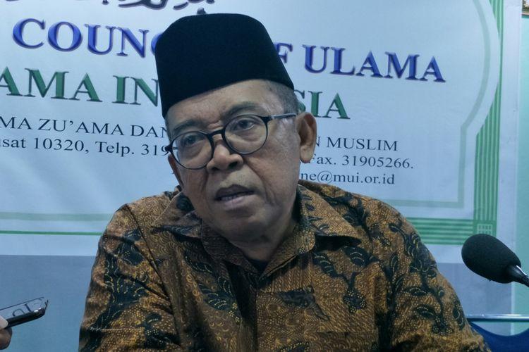Ketua MUI Bidang Informasi dan Komunikasi Masduki Baidlowi ketika ditemui di Kantor MUI Jakarta, Selasa (15/5/2018).