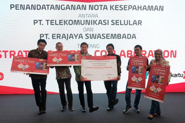 Penandatanganan kerja sama Telkomsel-Erajaya di Jakarta, Selasa (15/8/2018).