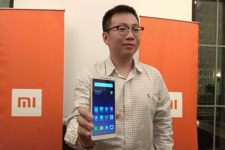 Steven Shi, Country Manager Xiaomi Indonesia di acara peluncuran Redmi S2 di jakarta, Selasa (22/5/2018).