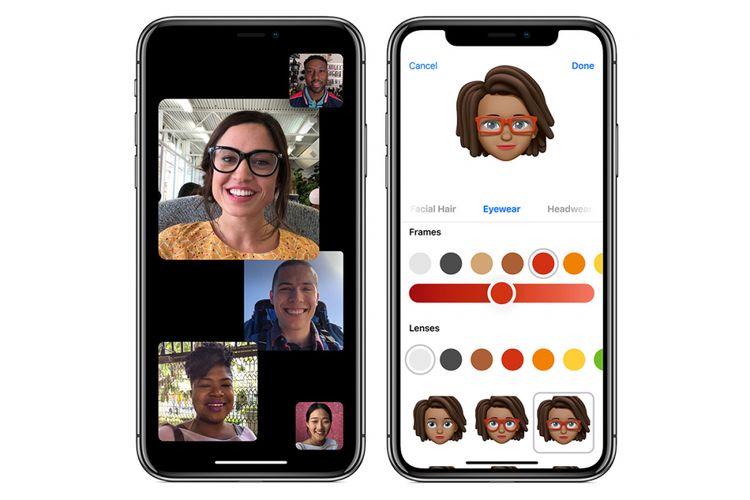 Fitur Memoji (kanan) dan Face Time hingga 32 peserta di iOS 12.