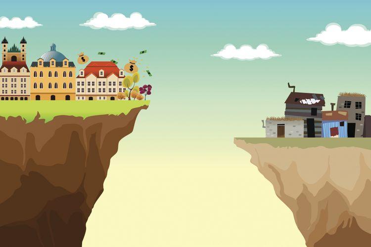 Ilustrasi kesenjangan antara orang kaya dan orang miskin.