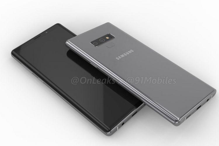 Bocoran gambar render Galaxy Note 9, dengan pemindai sidik jari yang dipindah ke bawah modul kamera.