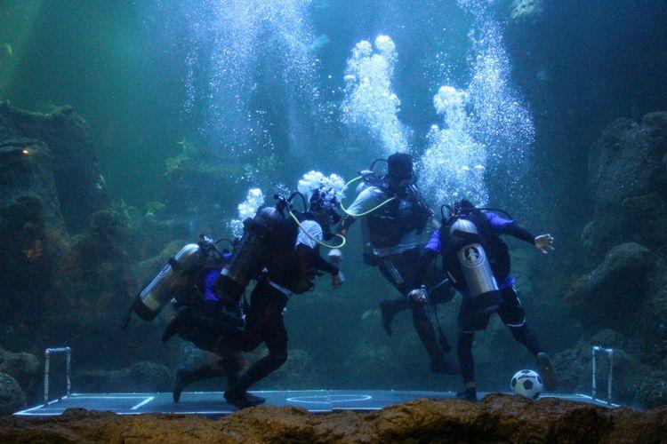 Bermain bola di dalam aquarium Sea World Ancol.