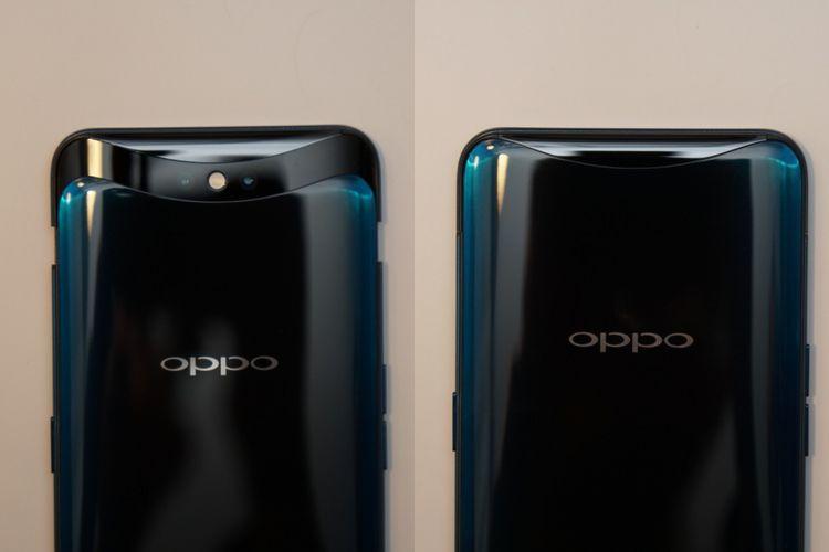 Tampak punggung Oppo Find X, sisi kiri dalam posisi kamera aktif dengan modul kamera bergeser ke atas dan sisi kanan dalam posisi kamera sedang tidak digunakan. Dalam posisi kamera tidak aktif, Oppo Find X seakan tidak memiliki kamera sama sekali.