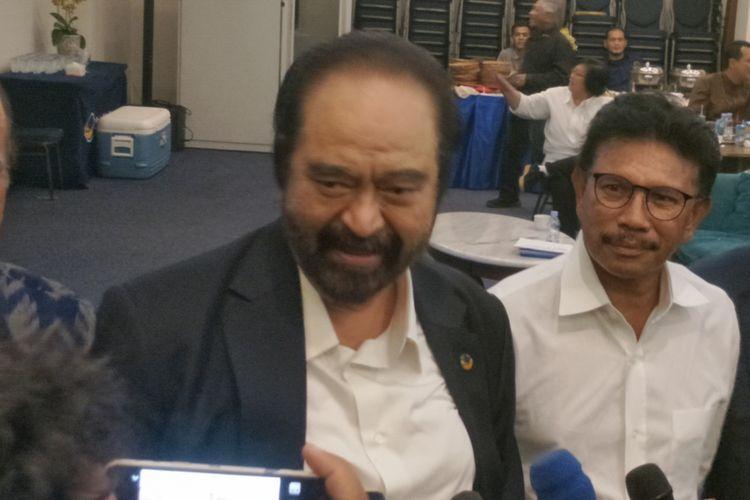Ketua Umum Partai Nasdem Surya Paloh saat ditemui di kantor DPP Partai Nasdem, Jakarta Pusat, Rabu (27/6/2018).